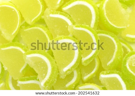 Close-up of lemon slices candy to use as background - stock photo