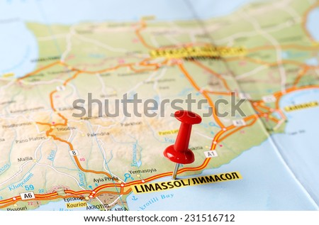 Close Limassol Cyprus Map Red Pin Stock Photo Royalty Free