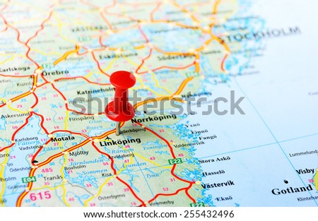 Close up of Linkoping ,Sweden map with red pin - Travel concept  - stock photo