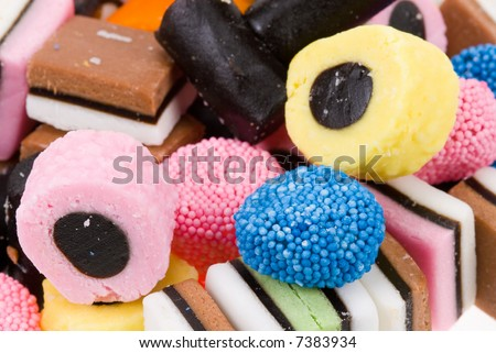 close-up of liquorice allsorts for backgrounds - stock photo