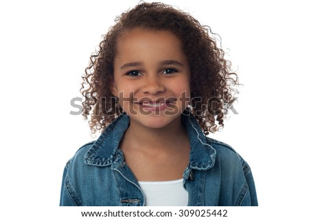 Close up of little girl posing over white - stock photo