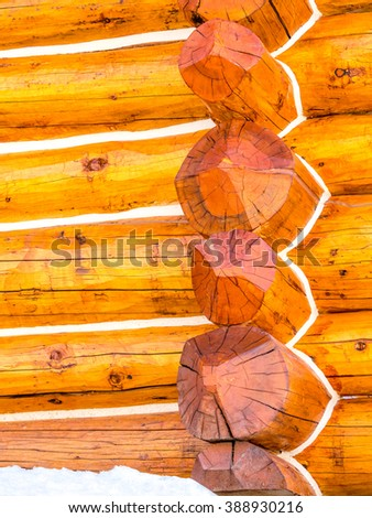 Close up of log cabin construction - stock photo