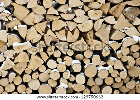 Close-up of logs of wood - stock photo
