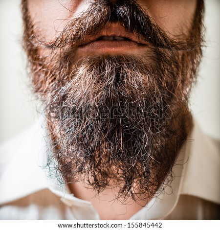 Close up of long beard and mustache man with white shirt - stock photo