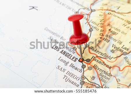 Close Up Of Los Angeles Usa Map With Red Push Pin