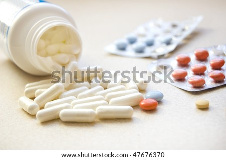Close up of lots drugs and medicament.