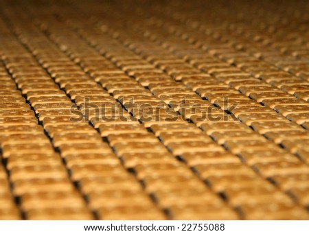Close-up of lots of crackers moving on a confectionery fabric conveyer - stock photo