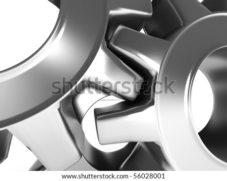 Close-up of Machine Gears isolated on white background. High quality 3d render.