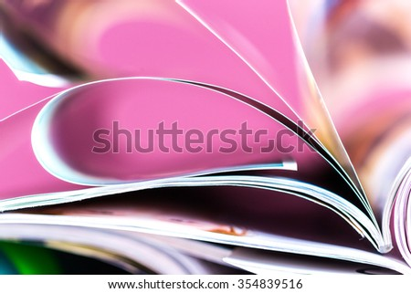Close-up of magazine pages - stock photo