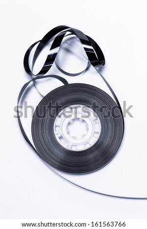 Close up of magnetic audio tape reel  - stock photo