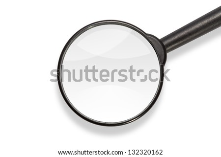 Close up of magnifying glass, isolated on white background, with clipping path - stock photo