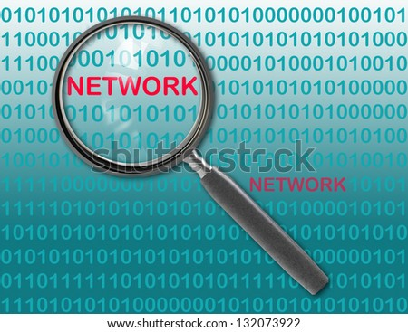 Close up of magnifying glass on network - stock photo