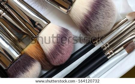 close-up of make-up brushes - beauty treatment - stock photo