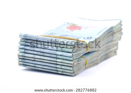 Close up Of Malaysia Currency On White Background, Selective focus  - stock photo
