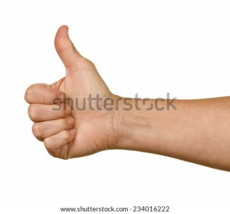 Close Up Of Male Hand Giving Thumbs Up On White Background - stock photo