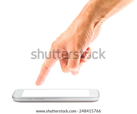 Close up of male hand using digital tablet - stock photo