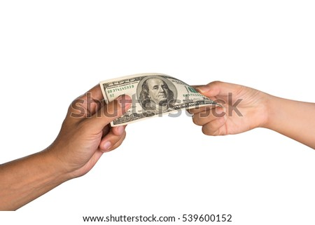Close up of male's hand giving money to female's hand. Hands passing money,US dollar currency,isolated white background with clipping path