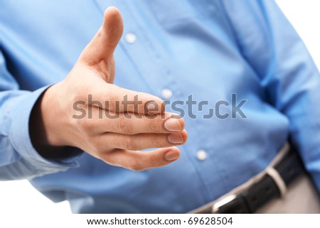Close-up of man extending his hand to the business partner - stock photo