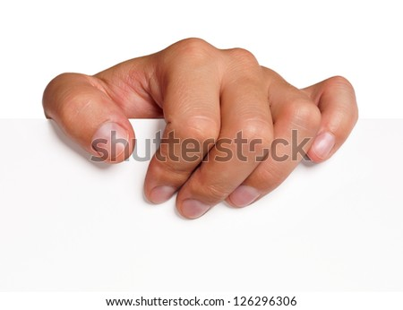 Close up of man hand holding blank advertising card on white - stock photo