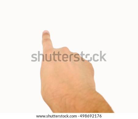 Close-up of man hand pointing over white background