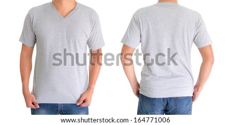 close up of man in blank V-neck short sleeve gray t-shirt