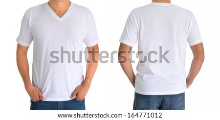 close up of man in blank V-neck short sleeve white  t-shirt - stock photo