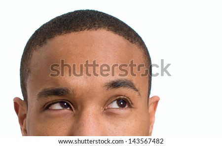 Close-up Of Man's Face Isolated Over White Background - stock photo