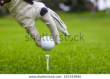 Close-up of man's Hand hold golf ball with tee on course - stock photo