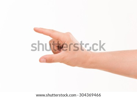 Close-up of man's hand holding a credit card isolated on white background. There are a hand and an arm on the photo.