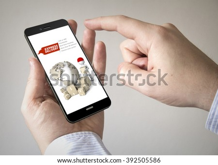 Close up of man using 3d generated mobile smart phone with express delivery website on the screen. Screen graphics are made up. - stock photo