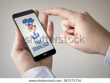 Close up of man using 3d generated mobile smart phone with free download on the screen. Screen graphics are made up.