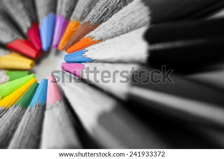 Close up of many colored pencils isolated - stock photo