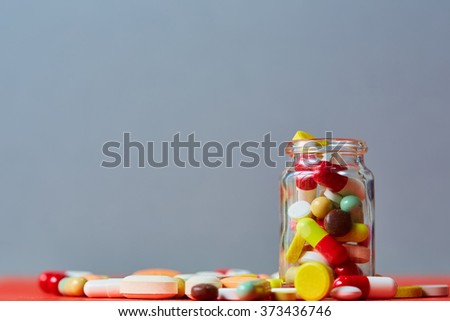 Close up of many colorful pills - stock photo