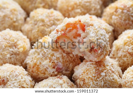 Close up of many homemade korokke group together. - stock photo