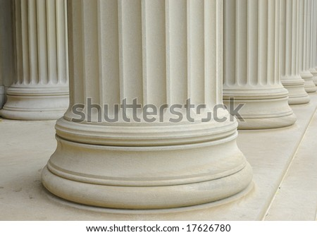 close up of marble columns of an old building