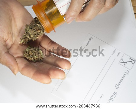 close up of marijuana medical marijuana and prescription  - stock photo