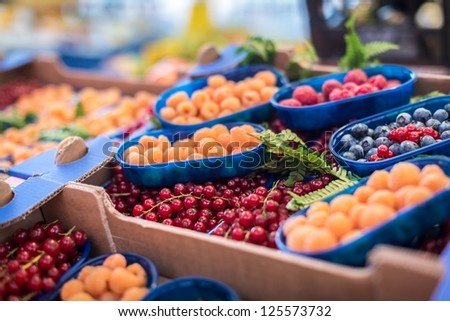 Close up of market produce at a Farmers market in Venice, italy - stock photo