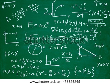 close up of math formulas on a blackboard