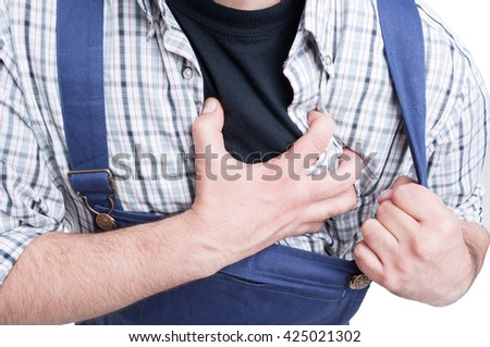 Close-up of mechanic in agony suffering from stroke as cardiovascular disease concept isolated on white - stock photo
