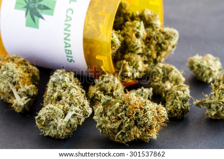 Close up of medical marijuana buds spilling out of prescription bottle with label on black background - stock photo