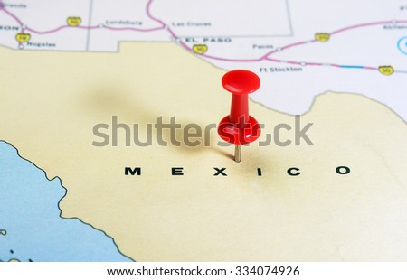 Close up of  Mexico  map with red pin - Travel concept - stock photo