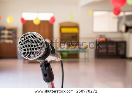 Close up of microphone in children party - stock photo