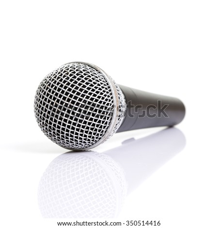 Close up of microphone on a white background