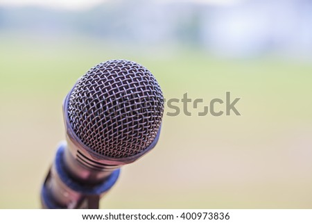 Close up of microphone Outdoor