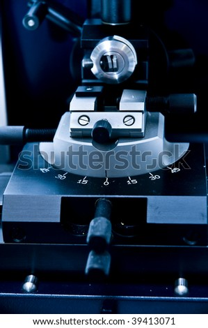 close-up of microtome in laboratory