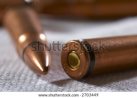 close up of military ammunition: shell and bullet