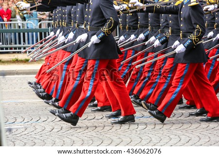 Close-up of Military parade during the ceremonial - stock photo