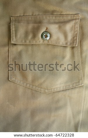 Close up of military trousers, show texture and button.