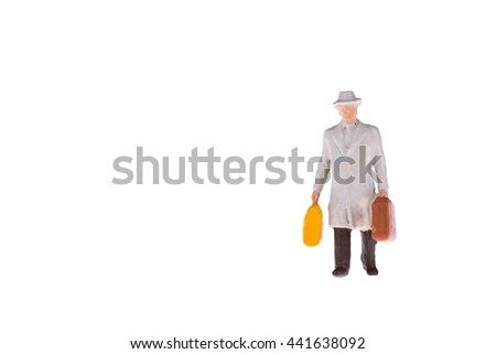 Close up of Miniature businessman and tourist people isolate on white background. Elegant Design with copy space for placement your text, mock up for travel concept - stock photo