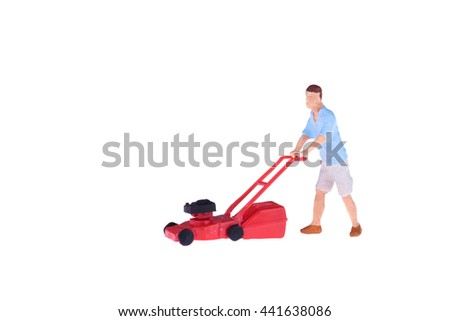 Close up of Miniature gardener people isolate on white background. Elegant Design with copy space for placement your text, mock up for housework and gradening concept - stock photo
